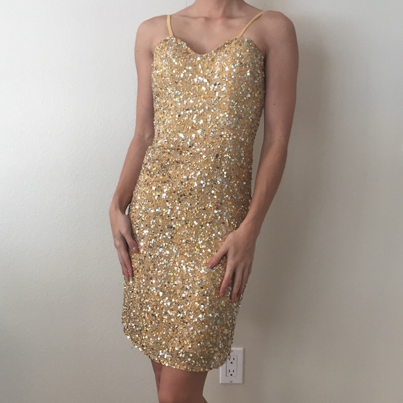 50% off Scala Dresses & Skirts - Gold sparkly beaded cocktail dress ...